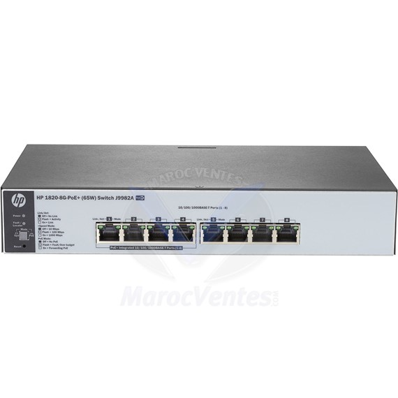Switch 1820 8 Ports  x 10/100/1000BASE-T PoE+ 65W J9982A